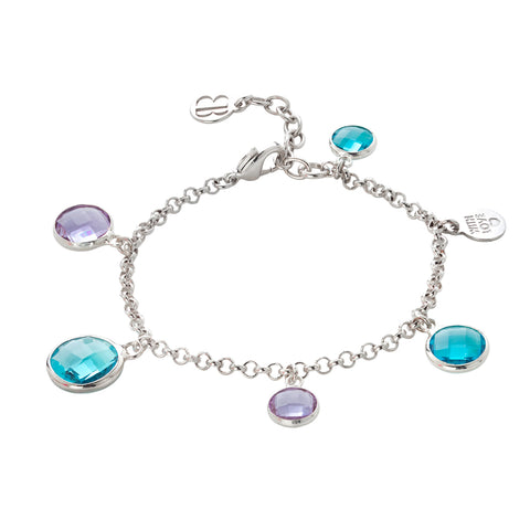 Related product : Bracciale rodiato con cristalli light amethysta e acquamarina