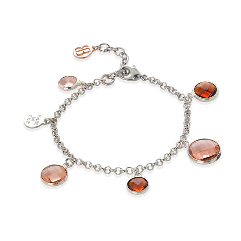 Related product : Bracciale bicolor con cristalli peach e brown