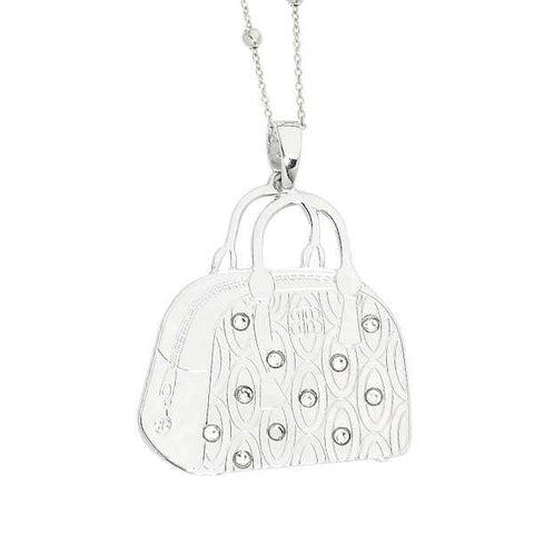 Collana con mini bag pendente e Swarovski