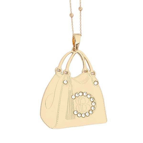 Related product : Collana rosata con shopping bag pendente e Swarovski