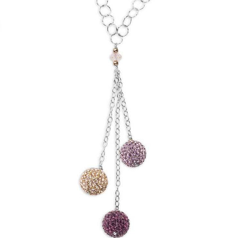 Related product : Collana in argento con pendente di boule di strass colorate
