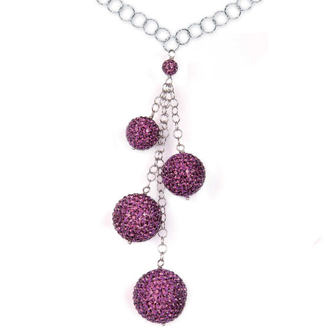 Related product : Collana in argento con pendente di boule di strass ametista