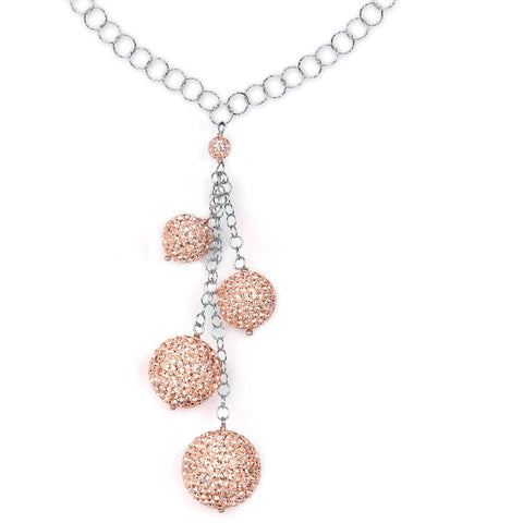 Related product : Collana in argento con pendente di boule di strass pesca