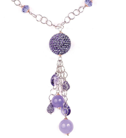 Related product : Collana in argento con Swarovski e boules di strass tanzanite