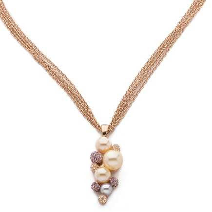 Related product : Girocollo multifilo in argento e pendente con perle bianche, color champagne e strass