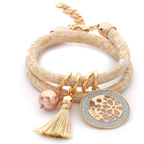 Related product : Bracciale Jacquard broccato con nappina beige