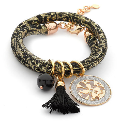 Related product : Bracciale Jacquard broccato con nappina nera