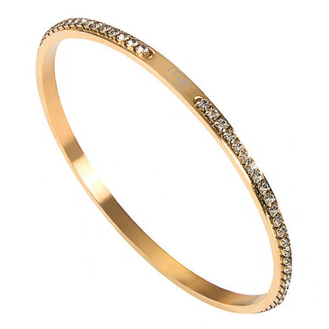 Related product : Bracciale rigido placcato oro giallo con strass