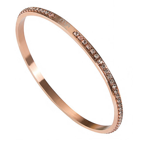 Related product : Bracciale rigido placcato oro rosa con strass