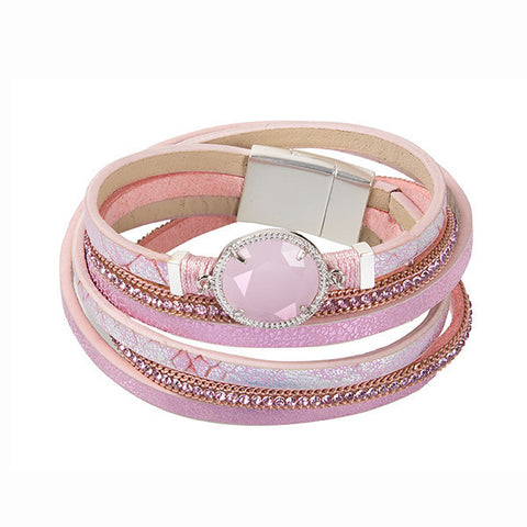 Related product : Bracciale multifilo in similpelle rosa