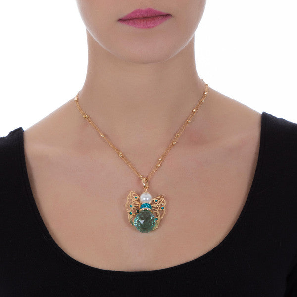 Collana con angelo in Swarovski antique green