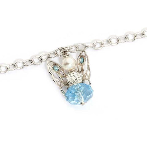 Related product : Bracciale con angelo mini pendente e Swarovski acquamarina