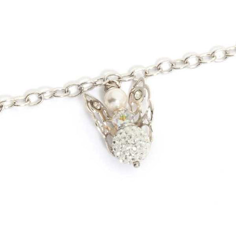 Related product : Bracciale con angelo mini pendente e strass finali