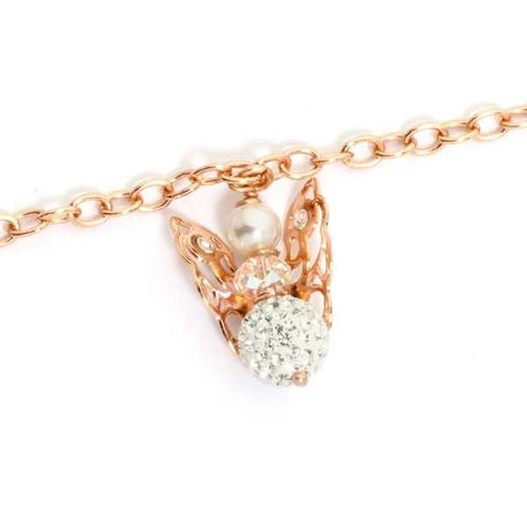 Related product : Bracciale rosato con angelo mini pendente e strass finali