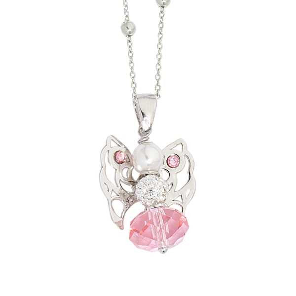 Collana con angelo mini in Swarovski light rose