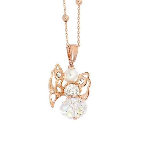 Related product : Collana rosata con angelo mini in Swarovski boreale