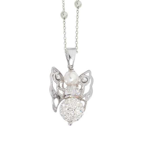 Related product : Collana con angelo mini e boule di strass finale