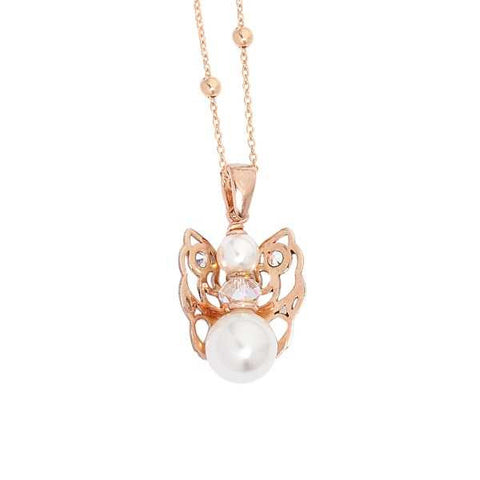 Related product : Collana rosata con angelo mini, Swarovski e boule bianca finale
