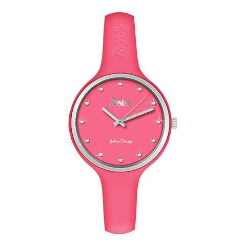 Orologio donna in silicone anallergico color fragola, ghiera silver e indici in Swarovski
