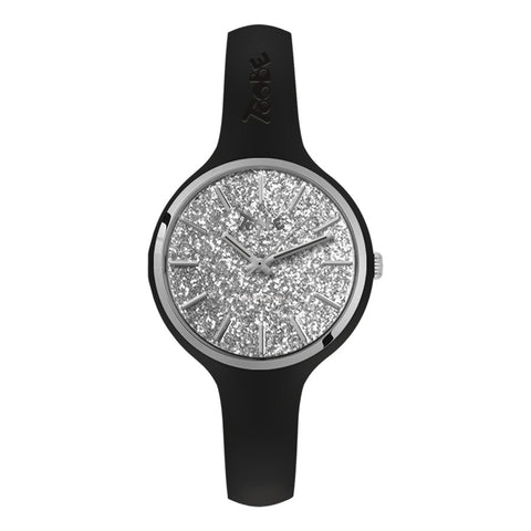Orologio donna in silicone anallergico nero con quadrante in gloss argentato