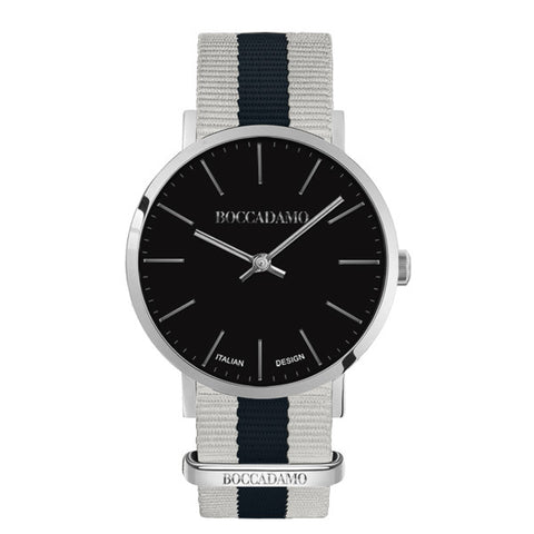Related product : Orologio con quadrante nero e cinturino in nylon bicolor