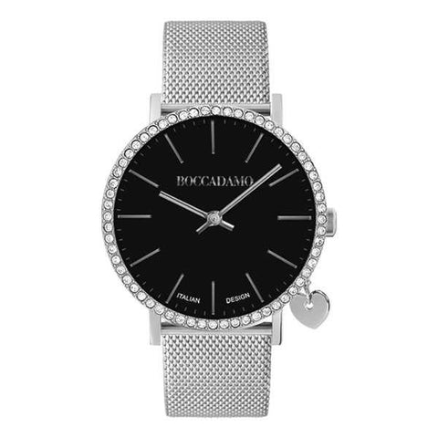 Related product : Orologio donna con quadrante nero, cassa in Swarovski e charm laterale