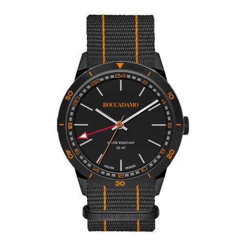 Related product : Orologio GMT con quadrante nero, corona silver e cinturino in nylon