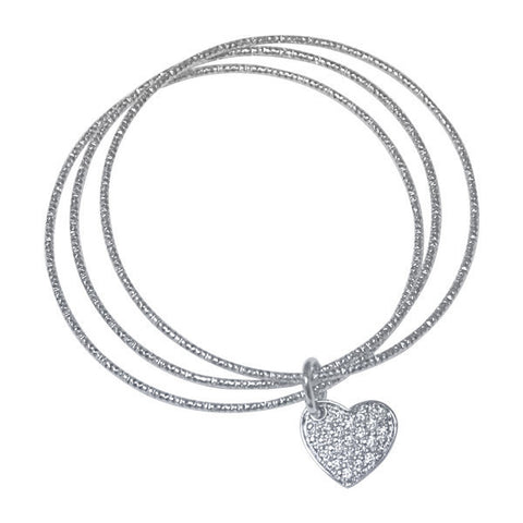 Related product : Multi bracciale rodiato con charm a forma di cuore