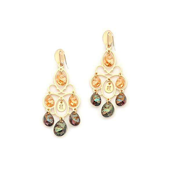 Small earrings in silver with Swarovski tunnel Liberty and bronze tones