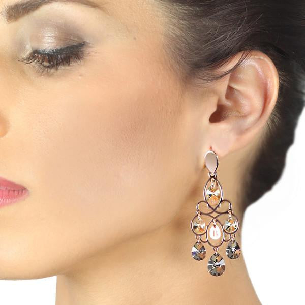 Small earrings in silver with Swarovski tunnel Liberty and smoky tones