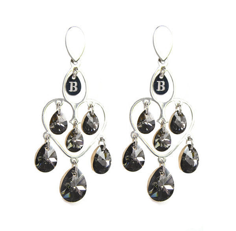 Small earrings in silver with anthracite Swarovski tunnel and Provencal