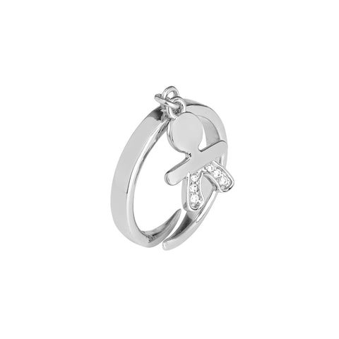 Related product : Anello con bimbo stilizzato e zirconi