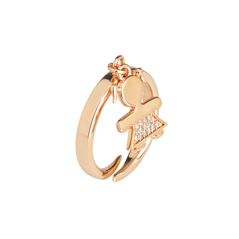 Related product : Anello rosato con bimba stilizzata e zirconi