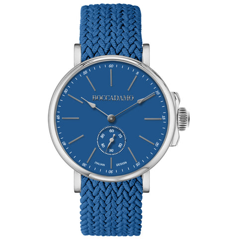 Related product : Orologio con quadrante blu e cinturino in nylon Perlon blu denim