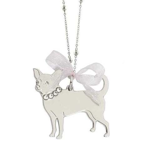 Related product : Collana rodiata con chihuahua pendente e Swarovski