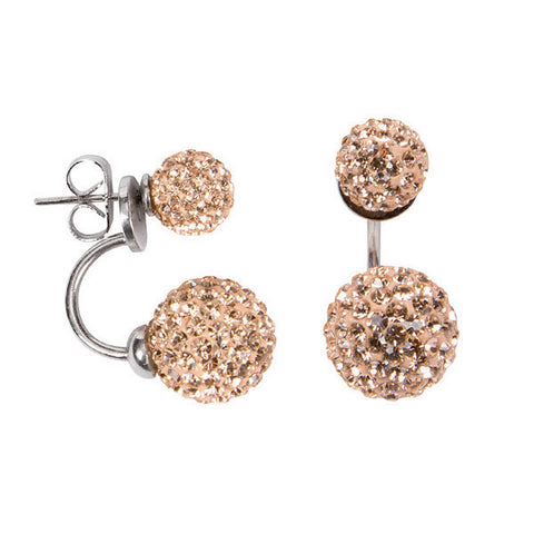 Related product : Orecchini asimmetrici con doppia boule di strass color pesca