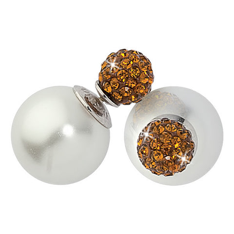 Related product : Orecchini a lobo con boule bianca e strass copper