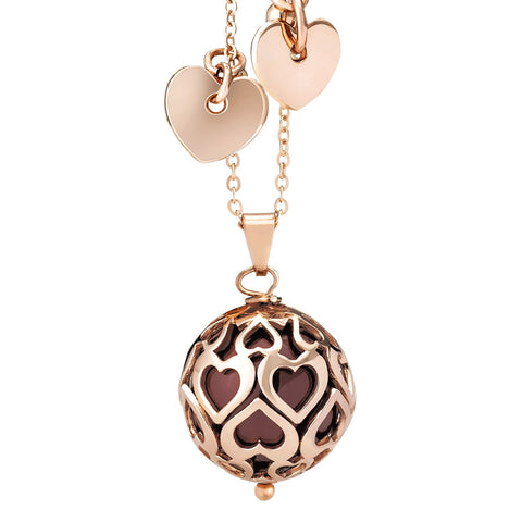 Related product : Collana con perla Swarovski bordeaux e cuori traforati
