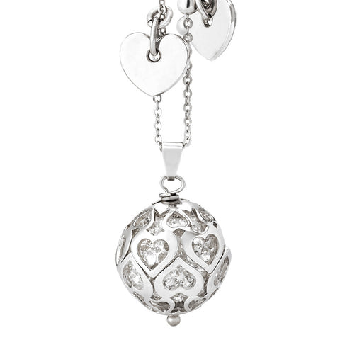 Related product : Collana con boule di strass bianchi e cuori traforati