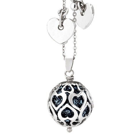 Related product : Collana con boule di strass blu montana e cuori traforati