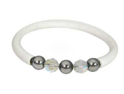 Related product : Bracciale bianco in gomma, Swarovski, boules in acciaio
