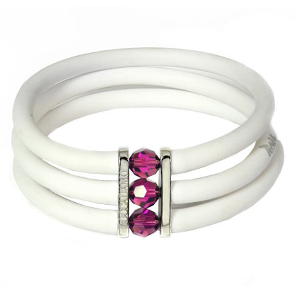 White rubber bracelet, rhodium plated bronze and amethyst Swarovski