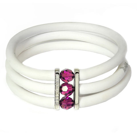 Related product : White rubber bracelet, rhodium plated bronze and amethyst Swarovski