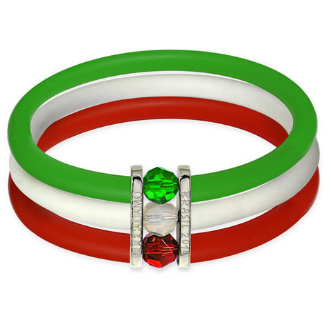 Rubber bracelet with multicolor Swarovski closing flag