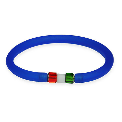Rubber bracelet with sapphire blue Swarovski cubic closing flag
