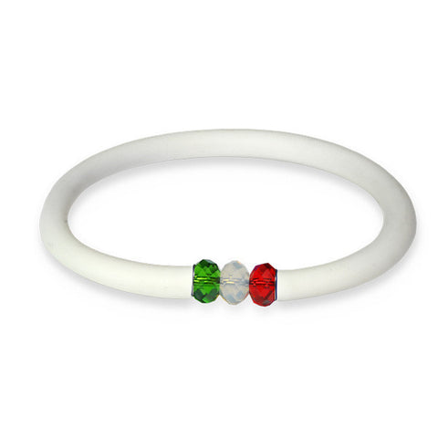 White rubber bracelet with Swarovski closing flag