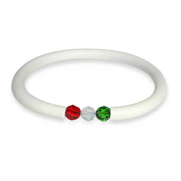 White rubber bracelet with Swarovski closing tricolor great