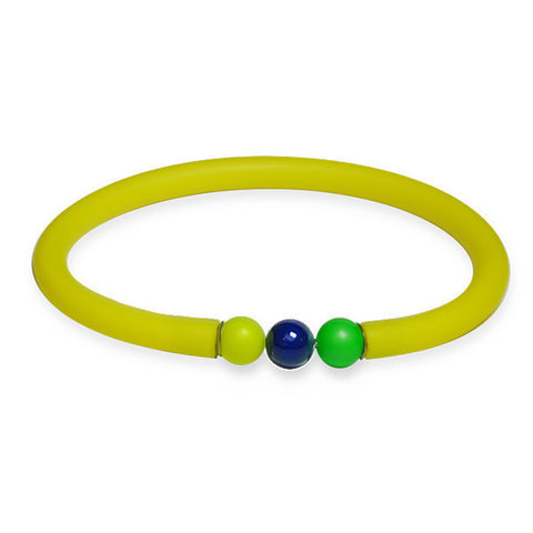 Yellow rubber bracelet with multicolor Swarovski closure boules