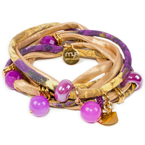 Related product : Bracciale in lycra glamour chic oro e viola