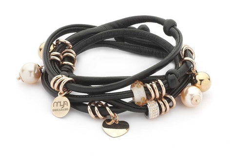 Related product : Bracciale in lycra nera lucida con perle Swarovski color pesca